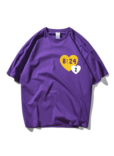 Purple Men's T-shirts Heart-shaped Letter Print Short Sleeve Round Neck Casual T-shirt MC252159-8