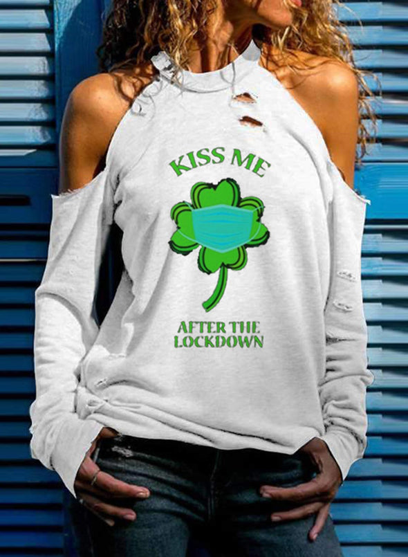 Green Women's Pullovers Saint Patrick's Day Letter Long Sleeve Halter Daily Pullover LC2516111-9