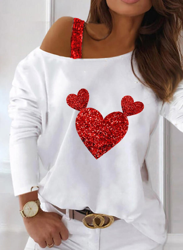 White Women's Pullovers Color Block Heart-shaped Long Sleeve Cold Shoulder Sequin Daily Pullover LC2516125-1