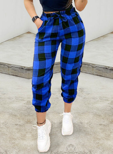 Blue Women's Joggers Plaid Drawstring Color Block Ankle-length High Waist Straight Casual Joggers LC771477-5