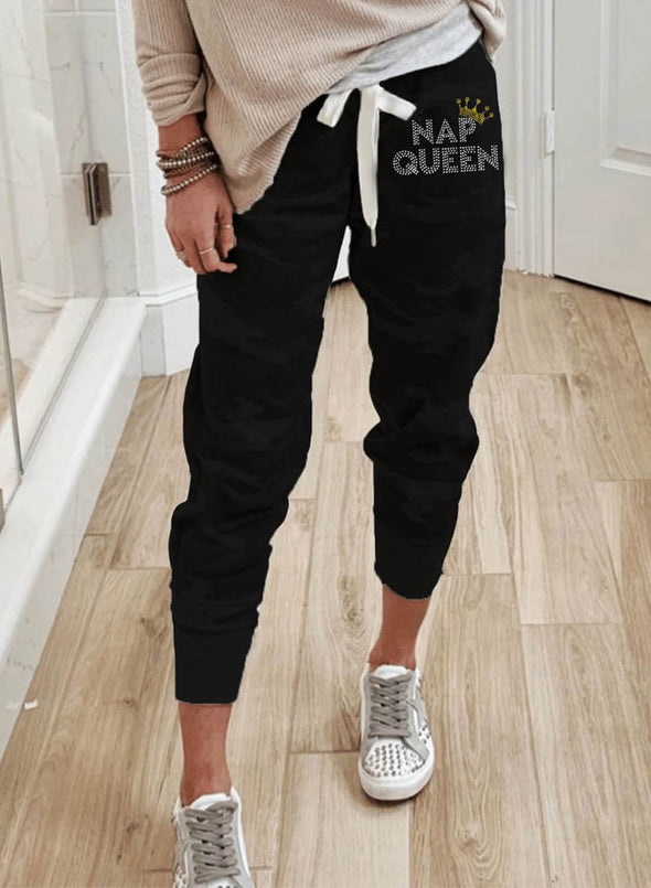 Black Women's Joggers Winter Solid Full Length High Waist Straight Casual Joggers LC771481-2