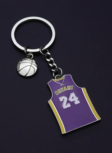 Purple Alloy Number Letter Color Block Keychain LC026004-8