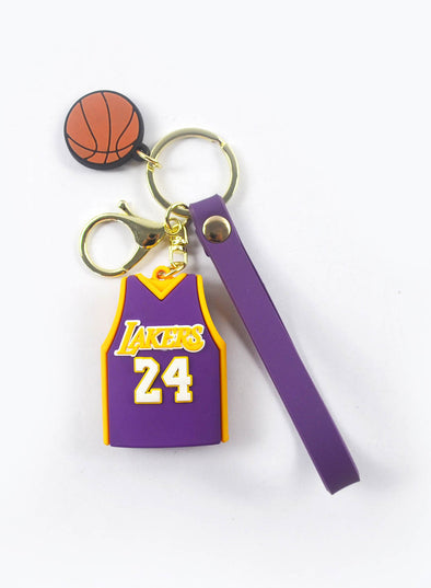 Purple Rubber Basketball Color Block Keychain LC026005-8