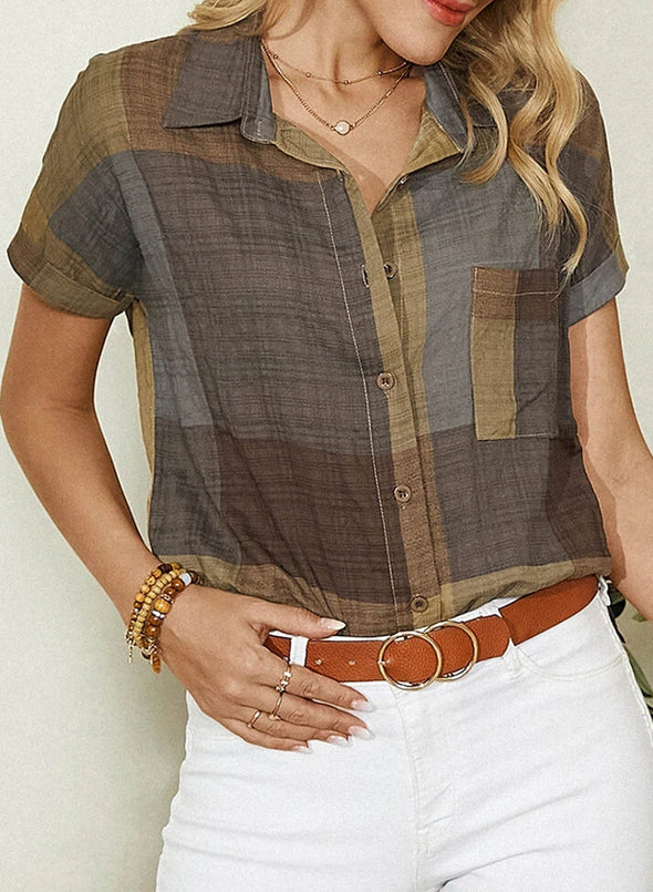 Multicolor Women's Shirts Color Block Short Sleeve Turn Down Collar Casual Summer Shirts LC255776-22