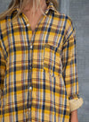 Yellow Women's Shirts Plaid Color Block Long Sleeve Turn Down Collar Casual Shirts LC255783-7