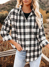 Black Women's Shirts Plaid Color Block Long Sleeve Turn Down Collar Casual Shirts LC255788-2