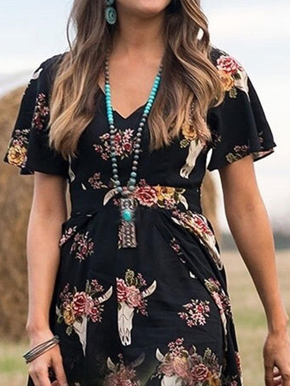 Black Vintage Boho Horns Floral Printed Plus Size Short Sleeve V Neck Casual Holiday Dresses LC613797-2