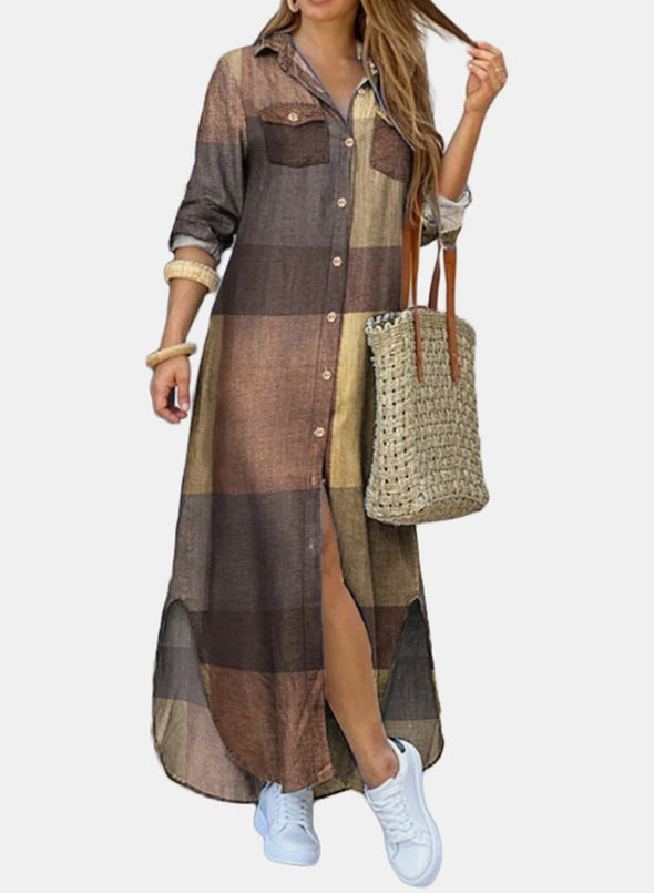 Brown Women's Dress Casual Maxi Plaid Color Block Turn Down Collar Long Sleeve Maxi Shirt Dress LC613780-17