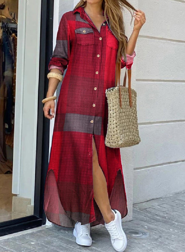 Red Women's Dress Casual Maxi Plaid Color Block Turn Down Collar Long Sleeve Maxi Shirt Dress LC613780-3