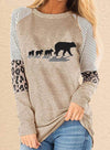 Brown Women's Pullovers Casual Animal Print Color Block Striped Leopard Round Neck Long Sleeve Daily Pullovers LC2516159-17
