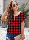 Red Women's Tunic Tops Plaid Short Sleeve Round Neck Zip Casual DailyTops LC2516168-3