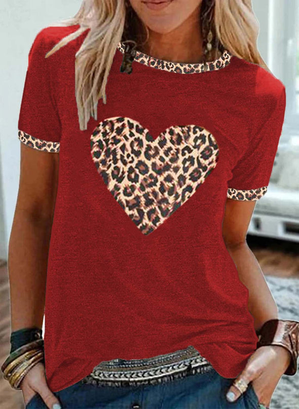 Red Women's T-shirts Leopard Heart-shaped Color-block Short Sleeve Round Neck T-shirt LC2523349-3