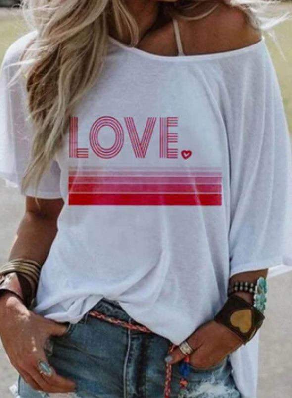 White Women's T-shirts Letter Print Short Sleeve Round Neck Daily T-shirt LC2523351-1