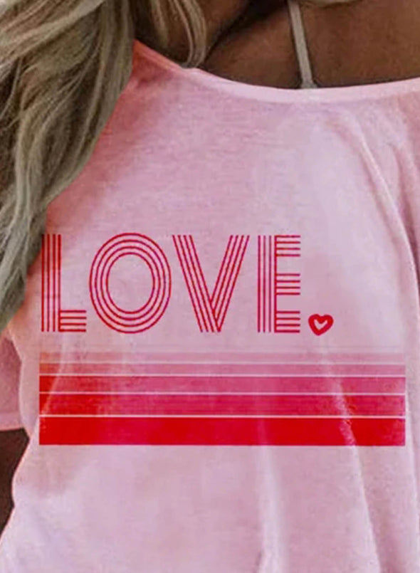 Pink Women's T-shirts Letter Print Short Sleeve Round Neck Daily T-shirt LC2523351-10