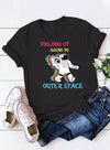 Black Women's T-shirts  Letter Astronaut Print Short Sleeve Round Neck Daily T-shirt LC2523364-2