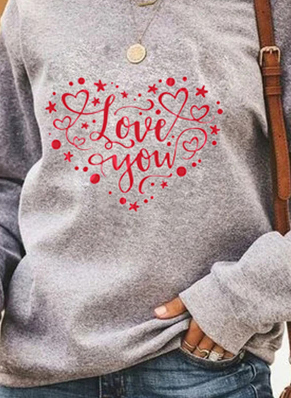 Gray Women's Pullovers Casual Heart-shaped Solid Round Neck Long Sleeve Daily Pullovers LC2516185-11