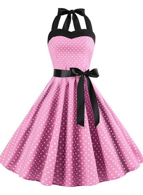 Pink Sexy Halter Party Dress Retro Polka Dot Hepburn Vintage 50s 60s Pin Up Rockabilly Dresses Robe Plus Size Elegant Midi Dress LC613796-10