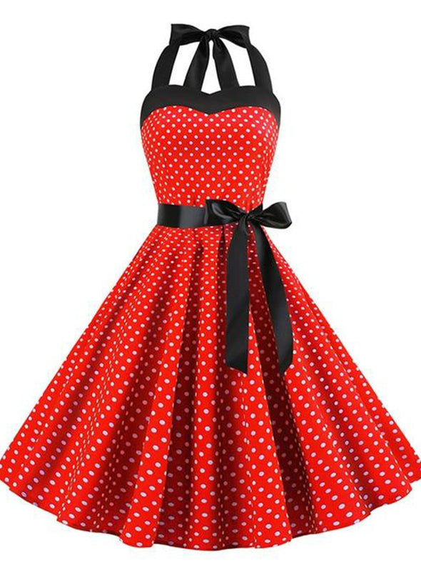 Red Sexy Halter Party Dress Retro Polka Dot Hepburn Vintage 50s 60s Pin Up Rockabilly Dresses Robe Plus Size Elegant Midi Dress LC613796-3