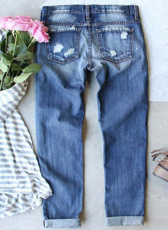 Sky Blue Women's Jeans High Waist Slim Tribal Ankle-length Daily Casual Jeans LC781310-4
