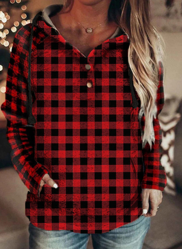 Red Women's Hoodies Plaid Drawstring Button Long Sleeve Color Block Pocket Hoodies LC2537257-3