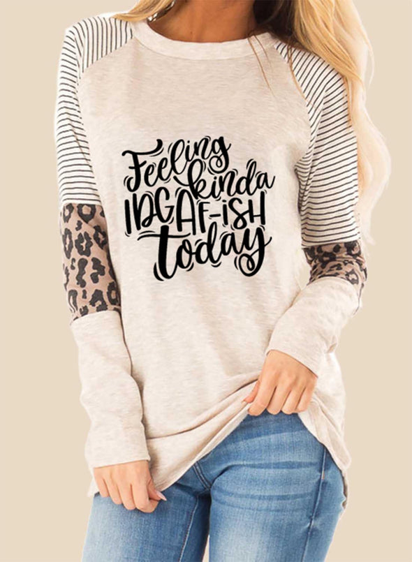 Beige Women's Pullovers Casual Striped Letter Leopard Long Sleeve Round Neck Pullovers LC2516241-15