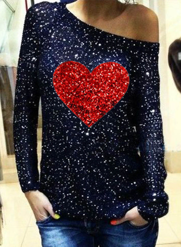 Black Women's Pullovers Casual Sequin Off Shoulder Heart-shaped Color Block Long Sleeve Round Neck Party Pullovers LC2516278-2