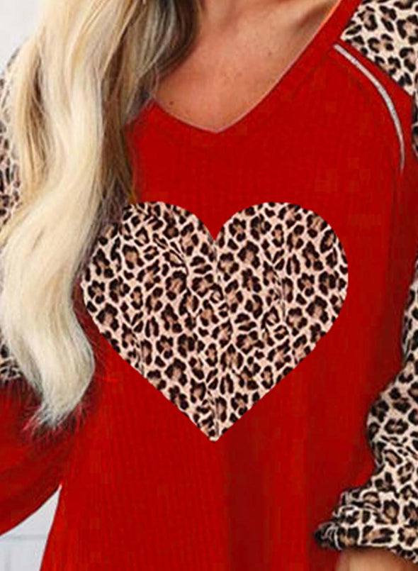 Red Women's Pullovers Casual Leopard Heart-shaped Color Block Long Sleeve Round Neck Tunics LC2516253-3