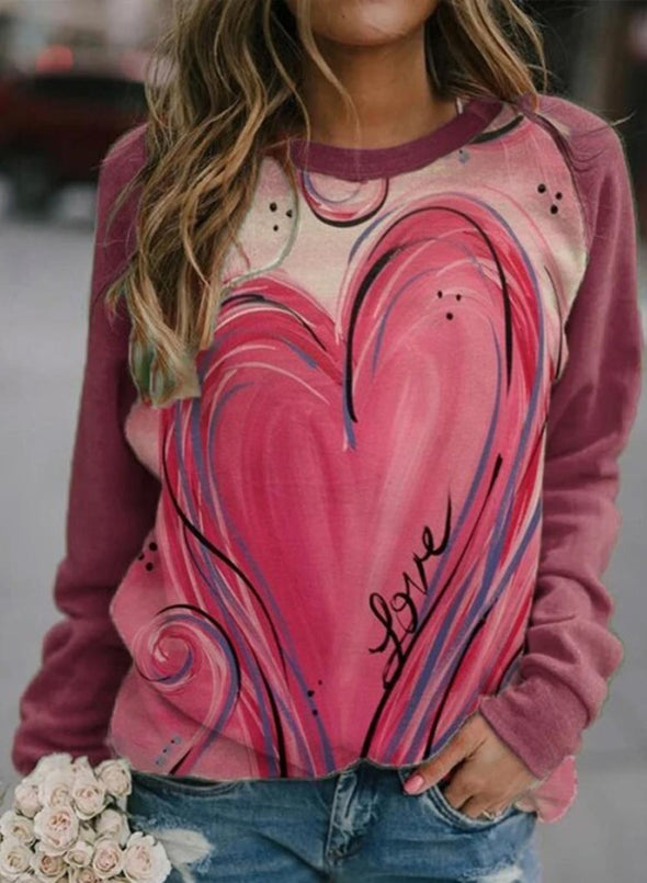 Pink Women's Pullovers Casual Heart-shaped Color Block Long Sleeve Round Neck Pullovers LC2516263-10