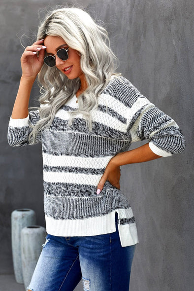 Women's Sweaters Striped Pullover Knit Sweaters