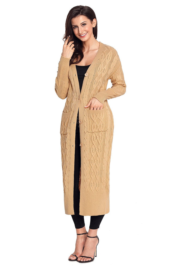 Women's Cardigans Cable Knit Long Cardigan