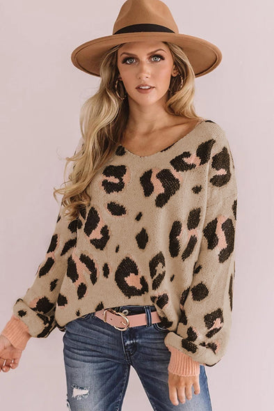 Women's Sweaters V-neck Leopard Print Puff Sleeve Sweaters