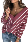 Women's Cardigans V Neck Stripe Long Sleeve Cardigan
