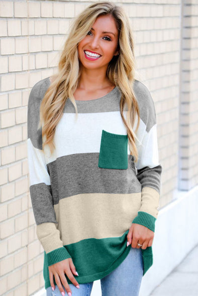 Women's Sweaters Colorblock Pocketed Sweaters