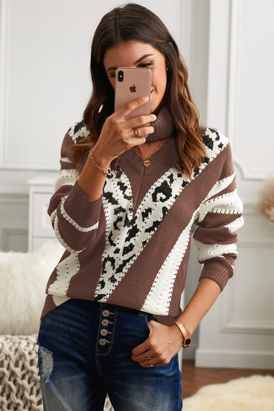 Women's Sweaters V Neck Striped Sweaters