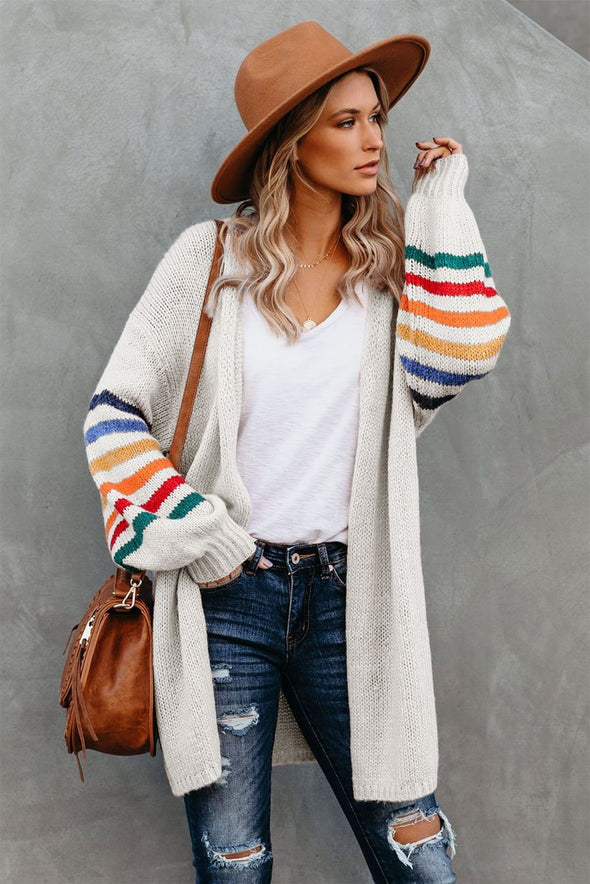 Women's Cardigans Striped Balloon Sleeve Cardigan