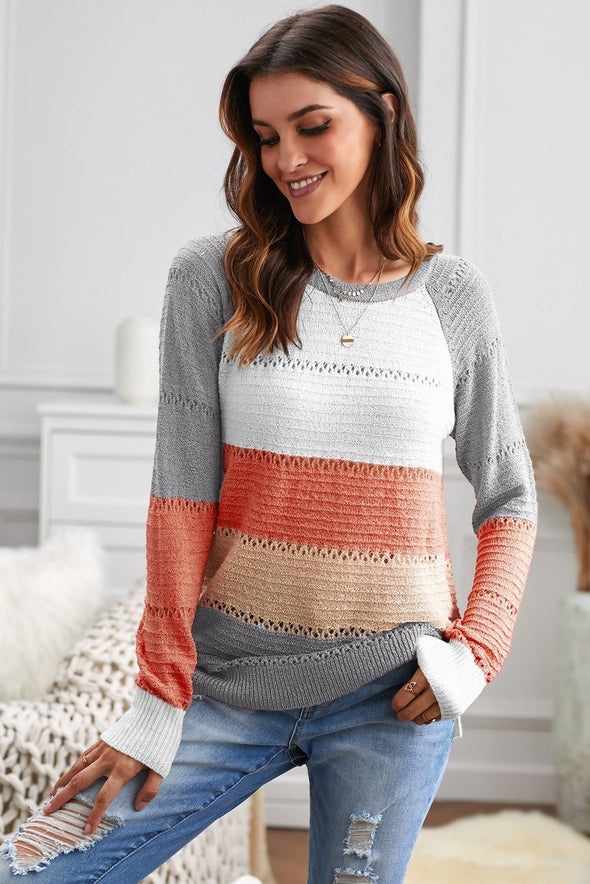 Women's Sweaters Multi-color Knitted Color Block Long Sleeve Crew Neck Sweaters