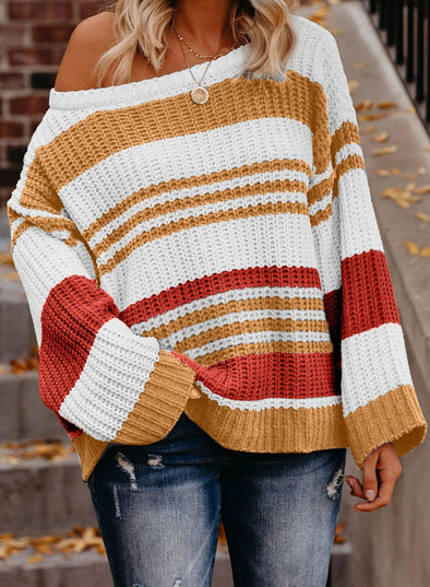 Women's Sweaters Striped Pattern Knit Sweaters