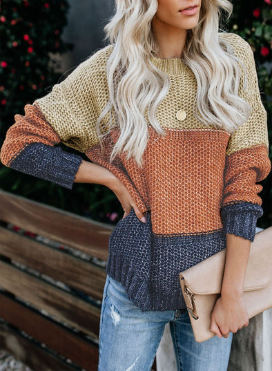 Women's Sweaters Color Block Netted Texture Pullover Sweaters