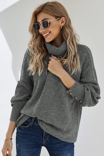 Gray Lantern Sleeve Turtleneck Pullover Sweater