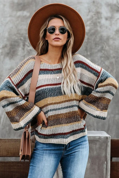 Women's Sweaters Dropped Shoulder Striped Relaxed Sweaters
