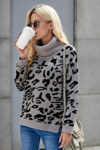 Women's Sweaters Leopard Cozy Long Sleeves Turtleneck Sweaters