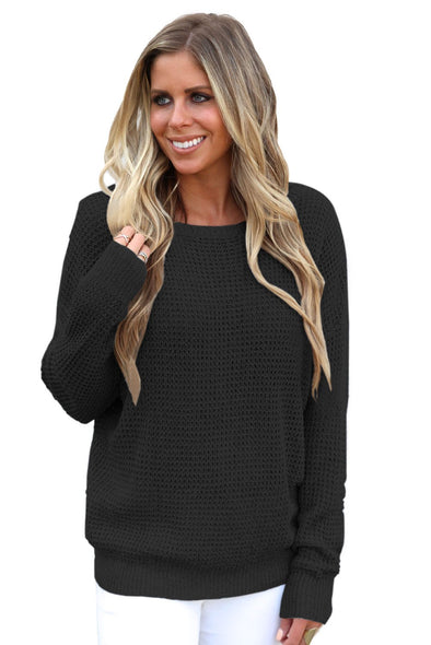 Women's Sweaters Cross Back Hollow-out Knitted Pullover Sweaters