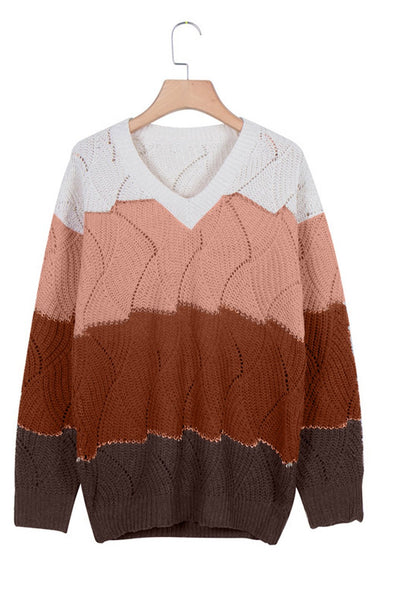 Women's Sweaters V Neck Colorblock Textured Knit Sweaters