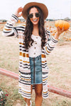 Women's Cardigans Striped Color-block Cardigan