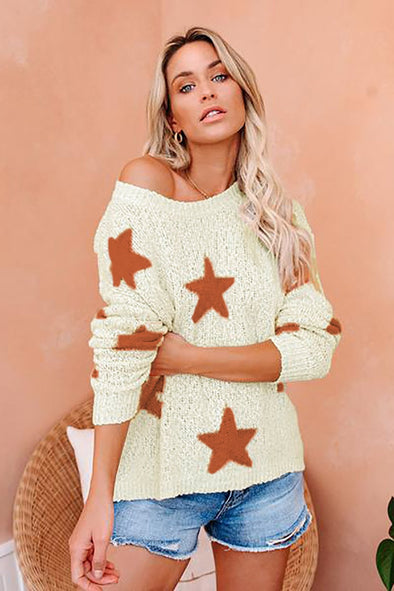 Women's Sweaters Beige Knit Star Sweaters