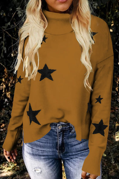Women's Sweaters Khaki Turtleneck Dropped Sleeve Star Print Sweaters