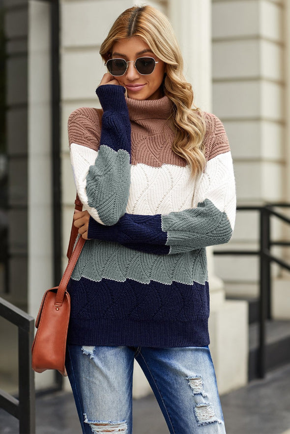 Women's Sweaters Turtle Neck Color Block Fluffy Twist Sweaters