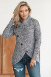 Women's Sweaters Slate Blue Buttoned Wrap Turtleneck Pullover Sweaters
