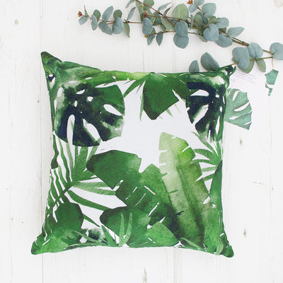 Palm leaf cushion with green leaves Tropical print throw pillow, banana leaf pillows, green cushions, plants print, UK seller, Trend 2017