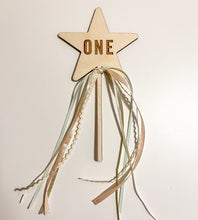 Load image into Gallery viewer, Wooden Number Star Wand